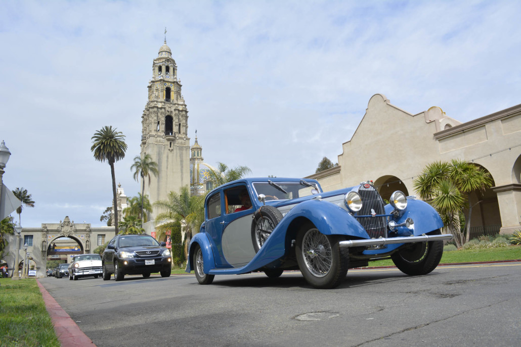 Our 2016 touring group of 70 cars leaves Balboa Park