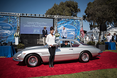 Most-Outstanding-Post-War-Donnie-Crevier-and-Larry-Alderson-1963-Ferrari-400-Superamerica-2-Door-Aerodynamic-Coupe car show